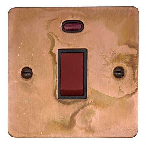 G&H FTC46B Flat Plate Tarnished Copper 45 Amp DP Cooker Switch & Neon Single Plate